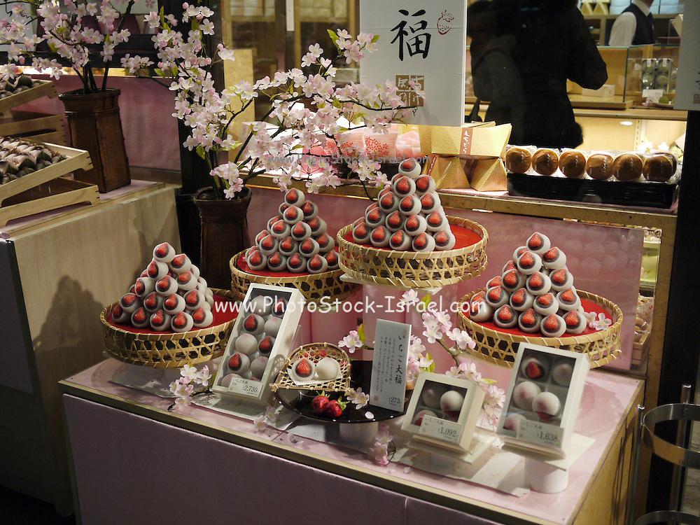 Japan, Tokyo, Shop window displays chocolates and petitfours