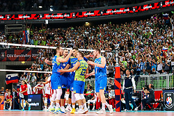 Players of Slovenia celebrates during volleyball match between National teams of Slovenia and Poland in semifinal of 2019 CEV Volleyball Men's European Championship in Ljubljana, on September 26, 2019 in Arena Stozice. Ljubljana, Slovenia. Photo by Matic Klansek Velej / Sportida