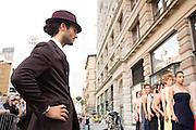 A male dancer checks out the women.