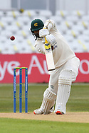 Brett Hutton of Nottinghamshire batting during the LV= Insurance County Championship match between Nottinghamshire County Cricket Club and Durham County Cricket Club at Trent Bridge, Nottingham, United Kingdom on 10 April 2021.