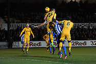Newport's Harry Worley ©  scores his sides 1st goal. Skybet football league two match, Newport county v Hartlepool Utd at Rodney Parade in Newport , South Wales on Friday 15th November 2013. pic by Andrew Orchard, Andrew Orchard sports photography,