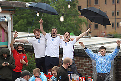 © Licensed to London News Pictures. 29/06/2021. London, UK. England fans prepare to watch the Euro 2020 round of 16 game between England and Germany at the Skylight Rooftop bar in Tobacco Dock, east London. Photo credit: Ben Cawthra/LNP