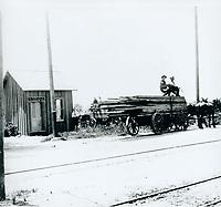 1905 Lumber wagon on Hollywood Blvd.