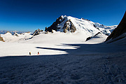 Oliviero Gobbi and Peter McConkie heading to the Cosmiques Hut, Aguille de Midi, Chamonix, France