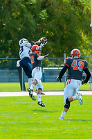 KELOWNA, CANADA - OCTOBER 1: Khalik Johnson #23 of the Langley Rams catches the ball in the end zone and makes a touchdown against the Okanagan Sun on October 1, 2017 at the Apple Bowl in Kelowna, British Columbia, Canada.  (Photo by Marissa Baecker/Shoot the Breeze)  *** Local Caption ***