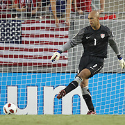 USA Goalkeeper Tim Howard (1) kicks the ball during a  CONCACAF Gold Cup soccer match between the United States and Panama on Saturday, June 11, 2011, at Raymond James Stadium in Tampa, Fla. (AP Photo/Alex Menendez)