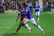 Everton defender Leighton Barnes  takes on Middlesbrough midfielder Albert Adomah  during the Capital One Cup match between Middlesbrough and Everton at the Riverside Stadium, Middlesbrough, England on 1 December 2015. Photo by Simon Davies.