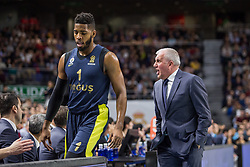 March 2, 2018 - Madrid, Madrid, Spain - Jason Thompson (L) and Zeljko Obradovic (R)during Fenerbahce Dogus Istanbul victory over Real Madrid (83 - 86) in Turkish Airlines Euroleague regular season game (round 24) celebrated at Wizink Center in Madrid (Spain). March 2nd 2018. (Credit Image: © Juan Carlos Garcia Mate/Pacific Press via ZUMA Wire)