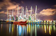 Oil painting photo of shrimp boats on the water