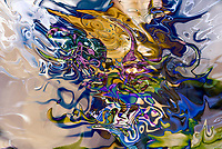 liquid objects abstraction: colorful fuid image with dissolving shapes
