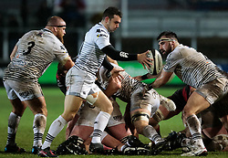 Ospreys' Tom Habberfield shapes to kick<br /> <br /> Photographer Simon King/Replay Images<br /> <br /> Guinness Pro14 Round 12 - Dragons v Cardiff Blues - Sunday 31st December 2017 - Rodney Parade - Newport<br /> <br /> World Copyright © 2017 Replay Images. All rights reserved. info@replayimages.co.uk - http://replayimages.co.uk