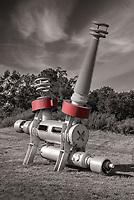 """Lunar Lander X"" sculpture by Edward Tufte at Hogpen Hill Farms, a sculpture museum in Woodbridge, Connecticut, U.S.A."
