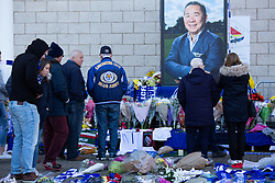 © Licensed to London News Pictures. 29/10/2018. Leicester, UK. Tributes outside the King Power Stadium, home of Leicester City FC following the fatal events on Saturday evening.  Photo credit: Dave Warren/LNP