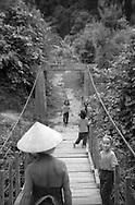 bridge crossing in Hon Village, between Sapa and Binh Lu, Vietnam.(Ethnic minority Lu)