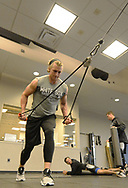 GLENDALE, ARIZONA - FEBRUARY 20:  Michael Kopech #78 of the Chicago White Sox works out in the weight room during spring training on February 20, 2018 at Camelback Ranch in Glendale Arizona.  (Photo by Ron Vesely)  Subject:   Michael Kopech