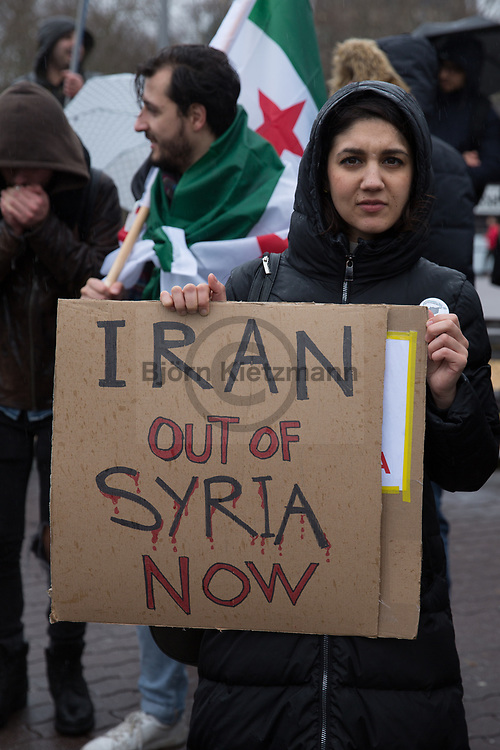 Berlin, Germany - 16.03.2019<br /> <br /> Demonstration by Syrians in exile against the Syrian regime on the 8th anniversary of the beginning of the Syrian revolution.<br /> <br /> Demonstration von Exil-Syrern gegend das syrische Regime am achten Jahrestag des Beginns der syrischen Revolution.<br /> <br /> Photo: Bjoern Kietzmann