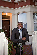 David Lammy, Member of Parliament for Tottenham and Minister for Skills, outside his old family home in Tottenham, North London
