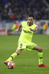 February 20, 2019 - Lyon, France - Sergio Busquets during the UEFA Champions League round of 16 first leg football match between Lyon (OL) and FC Barcelona on February 19, 2019, at the Groupama Stadium in Decines-Charpieu, central-eastern France. (Credit Image: © Mehdi Taamallah/NurPhoto via ZUMA Press)