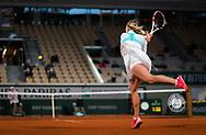 Anett Kontaveit of Estonia in action against Caroline Garcia of France during the first round of the Roland Garros 2020, Grand Slam tennis tournament, on September 27, 2020 at Roland Garros stadium in Paris, France - Photo Rob Prange / Spain ProSportsImages / DPPI / ProSportsImages / DPPI