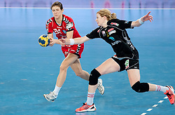 Kristina Franic of Krim vs Tonje Larsen of Larvik during handball match between RK Krim Mercator and Larvik HK (NOR) of Women's EHF Champions League 2011/2012, on November 13, 2011 in Arena Stozice, Ljubljana, Slovenia. Larvik defeated Krim 22-19 but both teams qualified to new round. (Photo By Vid Ponikvar / Sportida.com)
