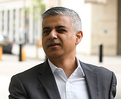 © Licensed to London News Pictures. 08/05/2016. London, UK. Mayor of London SADIQ KHAN winks as he is greeted at BBC Broadcasting House in London to appear on the Andrew Marr Show. Khan was sworn in as the new Mayor yesterday in a ceremony at Southwark Cathedral. Photo credit: Ben Cawthra/LNP