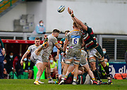 Leicester Tigers lcok Tomás Lavanini stretches to charge down as Wasps Scrum-half Ben Vellacott kicks the ball from a ruck during a Gallagher Premiership Round 10 Rugby Union match, Friday, Feb. 20, 2021, in Leicester, United Kingdom. (Steve Flynn/Image of Sport)