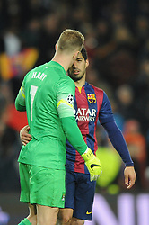 Barcelona's Luis Suarez speaks with Manchester City's Joe Hart after the game - Photo mandatory by-line: Dougie Allward/JMP - Mobile: 07966 386802 - 18/03/2015 - SPORT - Football - Barcelona - Nou Camp - Barcelona v Manchester City - UEFA Champions League - Round 16 - Second Leg