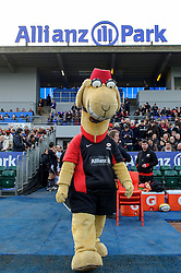 The Saracens mascot walks out for the first half of the match - Photo mandatory by-line: Rogan Thomson/JMP - Tel: Mobile: 07966 386802 16/02/2013 - SPORT - RUGBY - Allianz Park - Barnet. Saracens v Exeter Chiefs - Aviva Premiership. This is the first Premiership match at Saracens new home ground, Allianz Park, and the first time Premiership Rugby has been played on an artificial turf pitch.