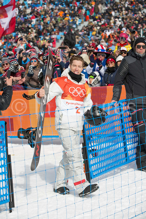 Shaun White, USA, during the  mens Snowboard Halfpipe Qualifications at the Pyeongchang Winter Olympics on 13th February 2018 at Phoenix Snow Park, South Korea