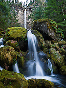 Watson Creek plunges 272 feet over a cliff to form Watson Falls, the third highest waterfall in Oregon. To get there, turn onto Road 37, off Highway 138 near the east entrance to Toketee Ranger station (Umpqua National Forest), about 60 miles east of Roseburg. Douglas County, Oregon, USA.