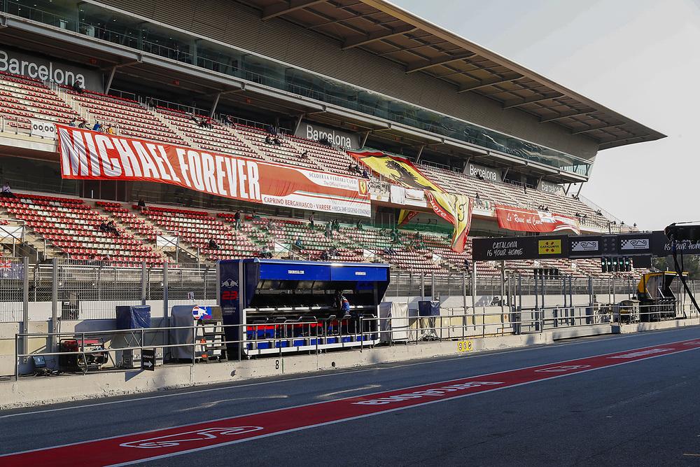February 28, 2019 - Barcelona, Catalonia, Spain - Scuderia Toro Rosso pitlane and banners in support to Michael Schumacher during F1 test celebrated at Circuit of Barcelona 28th February 2019 in Barcelona, Spain. (Credit Image: © Urbanandsport/NurPhoto via ZUMA Press)