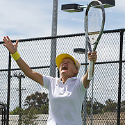 Kerry Ballard, Australia, celebrates her victory against Nicole Hesse-Cazaux, France in the final of the Alice Marble Cup match during the 2009 ITF Super-Seniors World Team and Individual Championships at Perth, Western Australia, between 2-15th November, 2009.