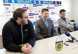 Matej Orazem, sports director of NK Domzale, Stevan Mojsilovic of Serbia at introduction as a new coach of NK Domzale and Luka Elsner of Slovenia when decided to finish his football career and become assistant coach, on April 1, 2012, in Domzale, Slovenia. (Photo by Vid Ponikvar / Sportida.com)