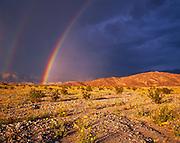 Double rainbow over the Amargosa Range, Death Valley National Park, California