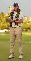 January 13, 2019 - Honolulu, HI, U.S. - HONOLULU, HI - JANUARY 13: Matt Kuchar poses with the championship trophy after winning the Sony Open at the Waialae Country Club in Honolulu, HI. (Photo by Darryl Oumi/Icon Sportswire) (Credit Image: © Darryl Oumi/Icon SMI via ZUMA Press)