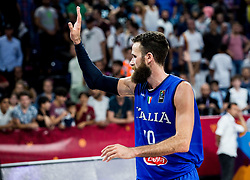 Luigi Datome of Italy celebrates after winning during basketball match between National Teams of Finland and Italy at Day 10 in Round of 16 of the FIBA EuroBasket 2017 at Sinan Erdem Dome in Istanbul, Turkey on September 9, 2017. Photo by Vid Ponikvar / Sportida