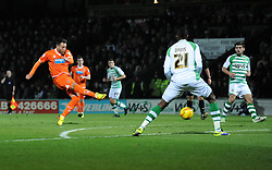 Blackpool's Stephen Dobbie takes a shot at goal. - Photo mandatory by-line: Dougie Allward/JMP - Tel: Mobile: 07966 386802 03/12/2013 - SPORT - Football - Yeovil - Huish Park - Yeovil Town v Blackpool - Sky Bet Championship