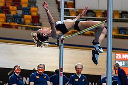 Myke van de Wiel in action on high jump during the Dutch Athletics Championships on 14 February 2021 in Apeldoorn