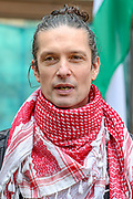 London, United Kingdom, May 27, 2021: Richard Barnard, a member of the Palestine Action activists group,  appeared outside Westminster Magistrates Court and spoke to the press ahead of a trial on Thursday, May 27, 2021. (Photo by Vudi Xhymshiti)