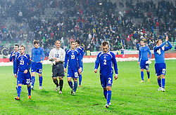 Players of BIH after the friendly football match between National teams of Slovenia and Bosna and Herzegovina, on February 6, 2013 in SRC Stozice, Ljubljana, Slovenia. BIH defeated Slovenia 3-0. (Photo By Vid Ponikvar / Sportida.com)