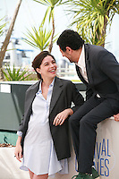 Heloise Godet and Kamel Abdeli at the photo call for the film  Goodbye to Language (Adieu au langage) at the 67th Cannes Film Festival, Wednesday 21st  May 2014, Cannes, France.