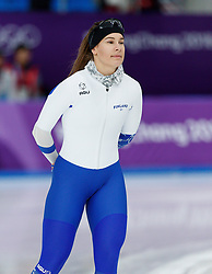 February 18, 2018 - Gangneung, South Korea - Speed skater Elina Risku of Finland warms up before she competes in the Ladies Speed Skating 500M finals at the PyeongChang 2018 Winter Olympic Games at Gangneung Oval on Sunday February 18, 2018. (Credit Image: © Paul Kitagaki Jr. via ZUMA Wire)