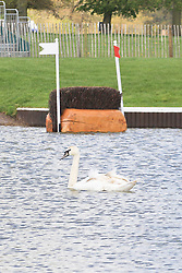 Photo Credit: Mark Chappell.© Mark Chappell 2012. All Rights Reserved. See instructions..© Licensed to London News Pictures. 30/04/2012. BADMINTON, UNITED KINGDOM. A General view of the waterjump after The Mitsubishi Motors Badminton Horse Trials was cancelled this morning due to poor ground conditions. The event, which was a key qualifier for the 2012 London Olympic Games, has been called off because of large areas of standing surface water and worries about the going of the Cross Country track. Photo credit: Mark Chappell/LNP