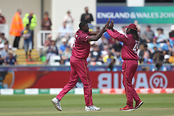 July 1, 2019 - Chester Le Street, County Durham, United Kingdom - West Indies' Jason Holder high fives Chris Gayle after bowling Sri Lanka's Angelo Mathews during the ICC Cricket World Cup 2019 match between Sri Lanka and West Indies at Emirates Riverside, Chester le Street on Monday 1st July 2019. (Credit Image: © Mi News/NurPhoto via ZUMA Press)