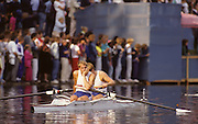 Bled, Slovenia, YUGOSLAVIA. GBR M2+, and M2-, Bow, Simon BERRISFORD, Stroke Steven REDGRAVE. cox Pat SWEENEY, Coxed Pair and Coxless Pair .1989 World Rowing Championships, Lake Bled. [Mandatory Credit. Peter Spurrier/Intersport Images]