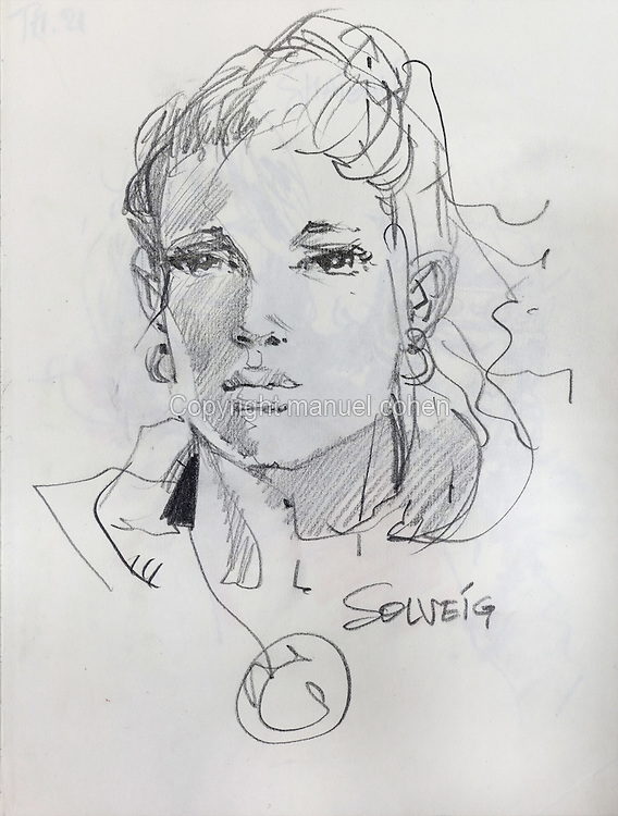 Pencil sketch of Solveig, childhood friend of Aaricia, from a sketchbook used for developing characters, used since 2000, by Grzegorz Rosinski, 1941-, Polish comic book artist. Rosinski was born in Stalowa Wola, Poland, and now lives in Switzerland, and is the author and designer of many Polish comic book series. He created Thorgal with Belgian writer Jean Van Hamme. The series was first published in Tintin in 1977 and has been published by Le Lombard since 1980. The stories cover Norse mythology, Atlantean fantasy, science fiction, horror and adventure genres. Picture by Manuel Cohen / Further clearances requested, please contact us and/or visit www.lelombard.com