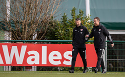 CARDIFF, WALES - Sunday, November 17, 2019: Wales' manager Ryan Giggs (L) and Medical Officer Doctor Jon Houghton during a training session at the Vale Resort ahead of the final UEFA Euro 2020 Qualifying Group E match against Hungary. (Pic by David Rawcliffe/Propaganda)