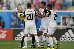 (l-r) referee Bjorn Kuipers, David Guzman of Costa Rica, Oscar Duarte of Costa Rica, Johnny Acosta of Costa Rica during the 2018 FIFA World Cup Russia group E match between Brazil and Costa Rica at the Saint Petersburg Stadium on June 22, 2018 in Saint Petersburg, Russia.