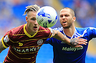 Sebastian Polter of Queens Park Rangers is challenged by Matthew Connolly of Cardiff city (r).EFL Skybet championship match, Cardiff city v Queens Park Rangers at the Cardiff city stadium in Cardiff, South Wales on Sunday 14th August 2016.<br /> pic by Andrew Orchard, Andrew Orchard sports photography.