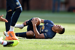 July 28, 2018 - Ann Arbor, Michigan, United States - Alexis Sanchez (7) reacts after a collision on the field during an International Champions Cup match between Manchester United and Liverpool at Michigan Stadium in Ann Arbor, Michigan USA, on Wednesday, July 28,  2018. (Credit Image: © Amy Lemus/NurPhoto via ZUMA Press)